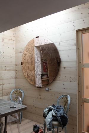 ingresso con specchio decorato_falegnameria Bariza